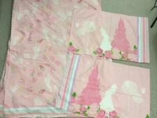 Disney Princess full flat sheet pink floral 2 matching pillowcases girls