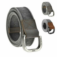 Men Gentleman Cotton Canvas Belt Double D Ring Metal Buckle Leather Belt Gift