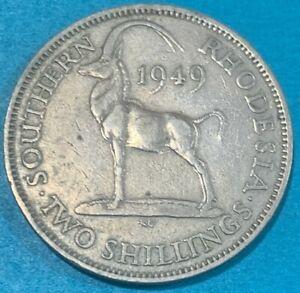 1949 Southern Rhodesia (Zimbabwe) 2 Shillings Sable Antelope Coin