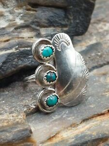 Old Pawn Sterling Silver 3 Stone Turquoise Blossom Leaf Ring Navajo Native...
