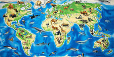 World Atlas Land Sea Animals Moose Whale Bear Walrus Penguin Cotton Fabric Panel