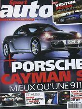 SPORT AUTO n°523 d'Août 2005 PORSCHE CAYMAN S VENTURI FETISH  350Z CATERHAM CSR