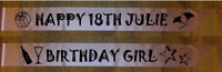 HAPPY BIRTHDAY SASH PERSONALISED PARTY 18TH 21ST 50 ETC