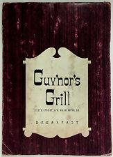Unusual Vintage Original Breakfast Menu GUV'NOR'S GRILL Washington DC