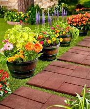 Set Of 4 Wood Look Indoor Outdoor Garden Deck Barrel Planters Home Decor