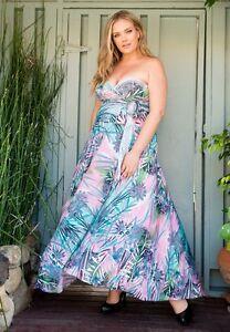 SWAK Designs Eternity Blue Pink Amore Maxi Wrap Dress, Sexy Plus Size