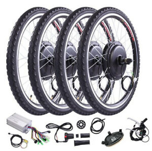 "26"" Front Rear Wheel Conversion Kit 48v 1000w Motor Hub Electric Bicycle E Bike"