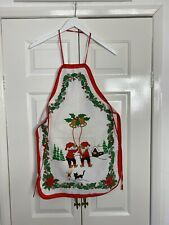 More details for vintage christmas pinny apron 1970s 1980s white red xmas kitchen kitsch kids
