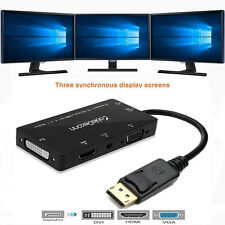 4in1 Display Port DP to VGA HDMI DVI Audio USB Adapter Cable Converter For PC US