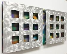 """CONTEMPORARY MODERN METAL WALL ART TITLED """"3D GEO SQUARED X2"""""""
