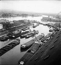 SUISSE c. 1950 - Péniches Port Fluvial  Le Rhin Bâle - Négatif 6 x 6 - Sui 14