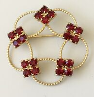 Vintage filigree  flower   Brooch pin  gold Tone Metal red Crystals .