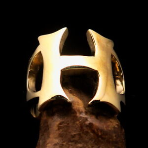 Excellent crafted Men's Initial Ring Bold Letter H - Solid Brass