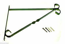 NEW BRACKET FOR 14 INCH HANGING BASKET GREEN PLASTIC COATED STEEL & FIXINGS LOT