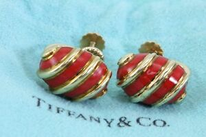 RARE! Tiffany & Co Schlumberger Red Coral Enamel Shell 18k Yellow Gold Earrings
