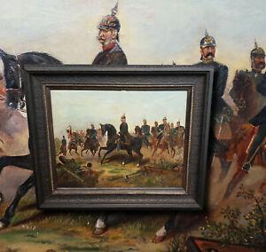 Kaiser Wilhelm I Schlacht bei Königgrätz Antik Ölgemälde Preussen Kaiserzeit