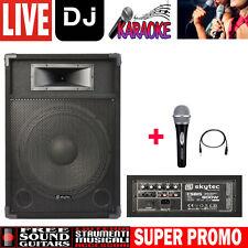 """SkyTec CSB15 PA Cassa Attiva 15"""" per Karaoke Disco DJ + MICROFONO PER CANTO"""