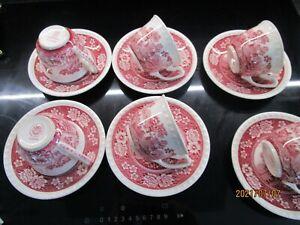 V&B Villeroy &Boch, Rusticana rot,  6 Tassen mit Untertassen 12-teilig