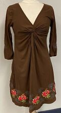 JWLA Johnny Was Size S Brown twisted v-neck embroidered knit dress
