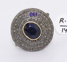 925 Sterling Silver Ring Rose Cut Diamond Victorian Vintage Blue Sapphire Ring
