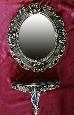 Wall Mirror + Console Oval Wall Bracket Set Baroque Antique 44x38 Black Gold 1