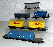 5 tlg. Piko Güterwagen Konvolut: DHL, Senator Containertragwagen, TEGA, P.K.P...