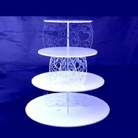 Four Tier Heart Design Round Cake Stand - Mirrored