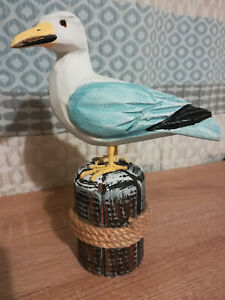 Wooden Seagull On Post Ornament Figurine