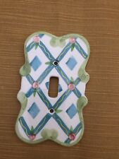 Ceramic Light Switch Cover Plate Nib Pink Green Blue Yellow White (Nf)