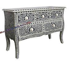 Handmade Vintage Style Dresser Bone Inlay Furniture 5 Drawer Floral Design Home