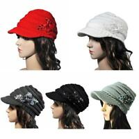 Women Winter Cable Knit Visor Warm Hat with Flower Accent Multi-Color Cap Warm