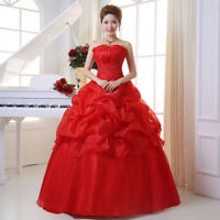 TOP Prinzessin Abendkleid Ballkleid Hochzeitskleid Kleid Braut ROT BC945R