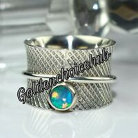 Ethiopian Opal Gemstone 925 Sterling Silver Wide Band Spinner Ring Jewelry D-388
