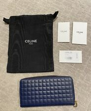 """""""NEW"""" Celine Womens C Charm Large Zipped Wallet in Quilted Calfskin (NAVY)"""