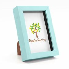 Nicola Spring Photo Frame - Acrylic Box Frame (Glass Cover) - 4x6in - Blue
