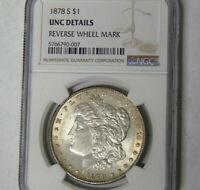 NGC UNC Details 1878-S Morgan Silver Dollar San Francisco Mint