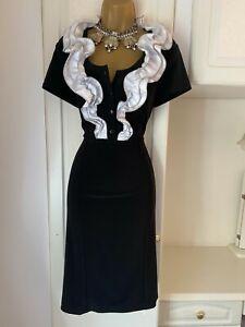 """Frank Lyman Size Uk 12 Stylish Black Dress With Whitish Frill Bust 36"""""""