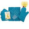 Kitchen Towel Set - Turquoise - Pot Holders, Oven Mitt, 2 Dish Towels Microfiber