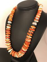 Native American Navajo Orange Spiny Oyster Turquoise Sterling Silver Necklace 22