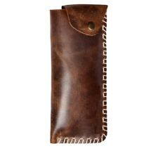 Unisex Leather Handmade Sleek Eyewear Cover Pouch (Tobacco Brown)
