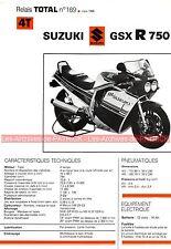 SUZUKI GSX-R 750 GSXR 1986 Fiche Technique Moto 000351