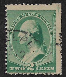 US # 213 (1887) 2c- Used - VG  EFO: Guide line ARROW 1/200