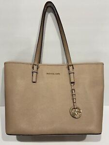 michael kors beige large leather tote purse bag