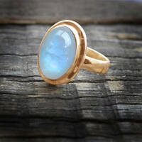 Blue Fire Natural Rainbow Moonstone Gemstone 14K Rose Gold Wedding Ring Size 7