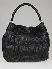 Prada Black Nappa Gaufre Leather Sacca Hobo Bag