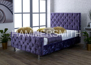Diamond Crushed Velvet Upholstered Bed Frame 3FT 4FT6 5FT King Size SALE!!!