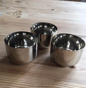 3 Stainless Steel Small Bowls Indian Katori 7cm Diam.