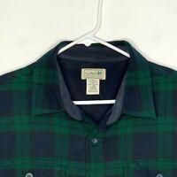 LL Bean Mens Flannel Fleece Lined Shirt Green/Blue Plaid Large