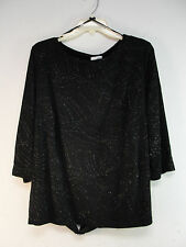 FASHION BUG TOP BLOUSE SHIRT TUNIC BLACK BEDAZZLED ADJUSTABLE BACK BELT NWT 18W