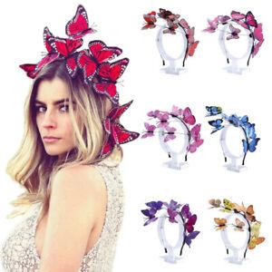 Women Flutter Butterfly Headband Colorful Bogus Butterflies Hair Band Accessory